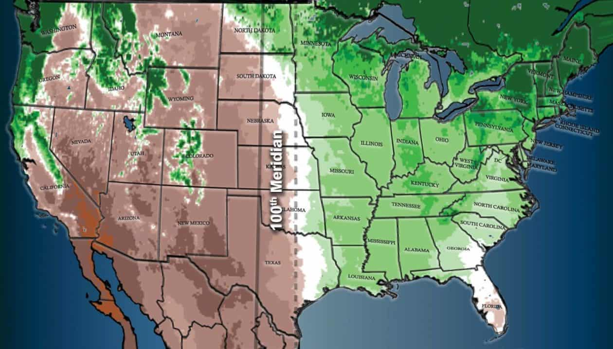 The 100th meridian west (solid line) has long been considered the divide between the relatively moist eastern United States, and the more arid West. The dotted line shows how this division has shifted east. Source: Columbia.