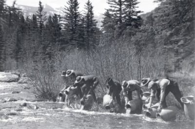 Fish stocking in the 1930s. Photo: Rocky Mountain National Park.
