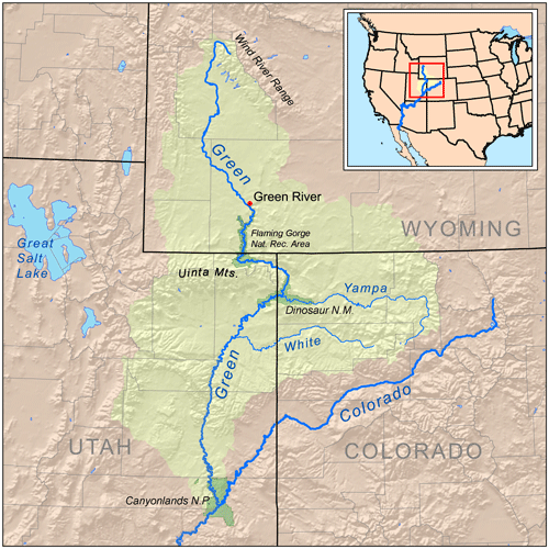 Map showing the location of Green River. Map: Kmusser, CC BY 3.0
