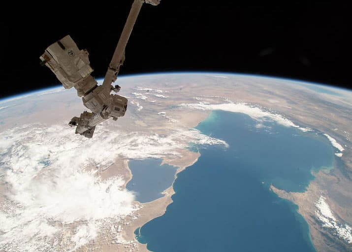 The Caspian Sea as captured by the International Space Station as it orbited overhead on June 21, 2018. Photo: iss056e032401, NASA.