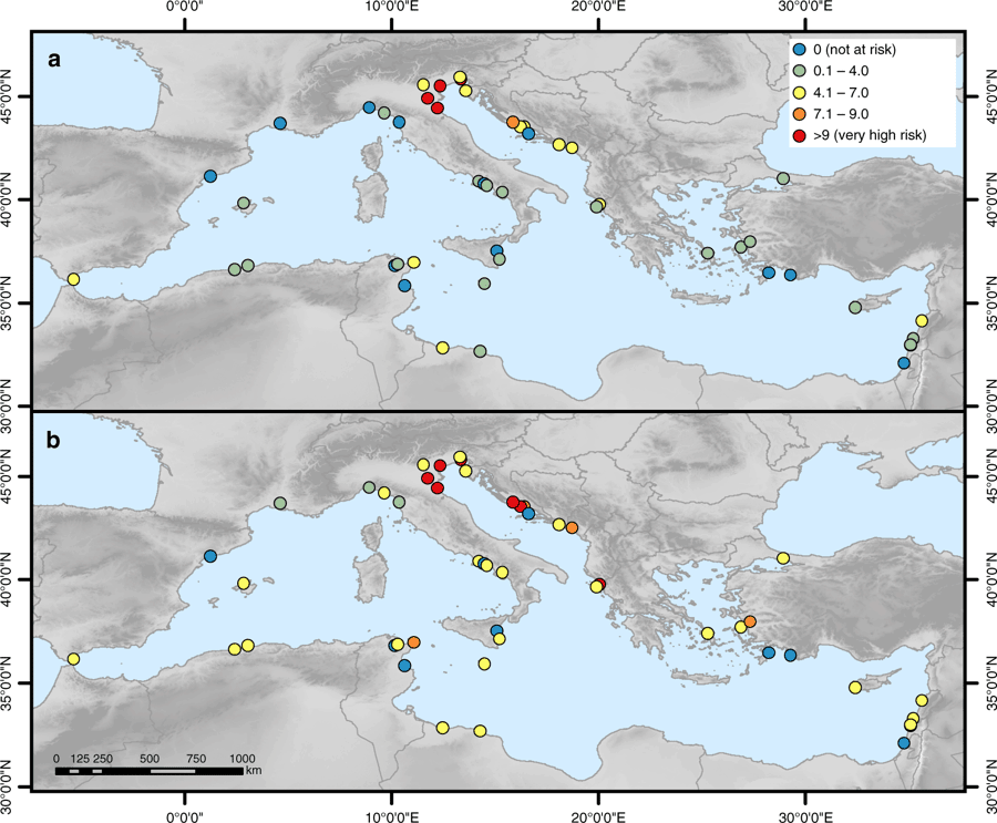 Flood risk index at each World Heritage site under current and future conditions. a In 2000 and b in 2100 under the high-end sea-level rise scenario. Figure: Reimann et al., 2018