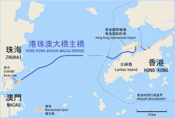 Map showing the location of the Hong Kong–Zhuhai–Macau Bridge. Map: Kellykaneshiro, CC BY-SA 4.0