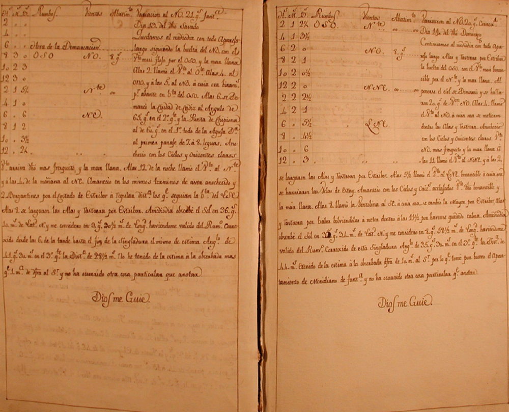 Two pages from a logbook from the Spanish brig S Francisco Javier (La Suerte) during a trip from Cádiz (Spain) to Cartagena de Indias in Colombia.  Archivo del Museo Naval in Madrid (Ms 241)