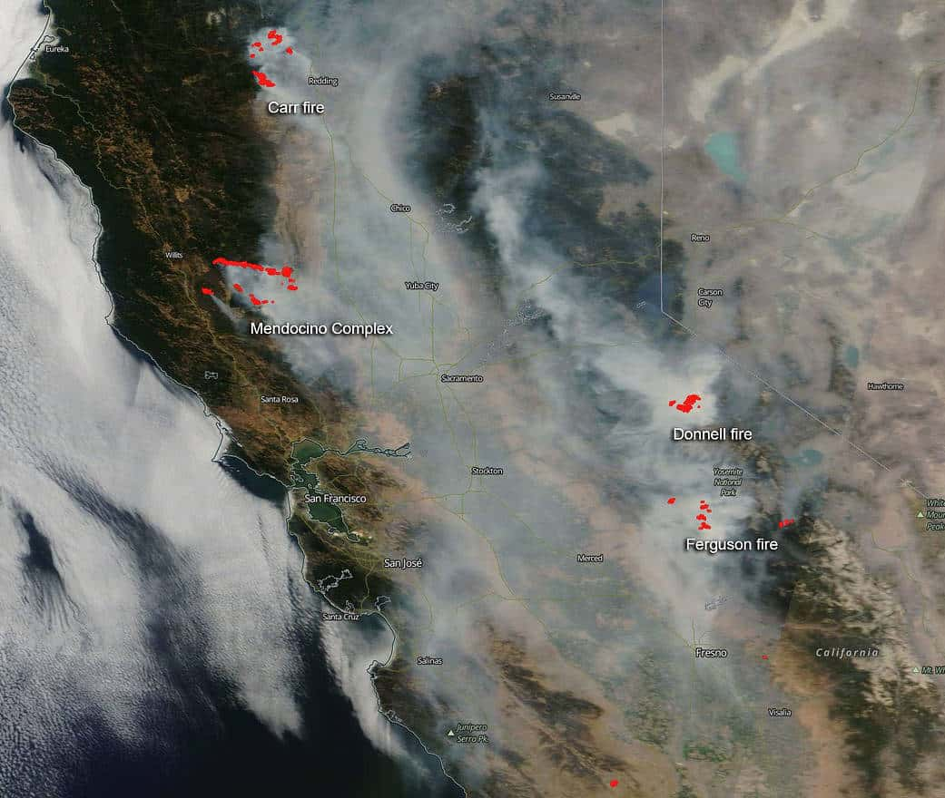 NASA's Aqua satellite captured this image of California fires and smoke blowing from them on August 06, 2018 with the Moderate Resolution Imaging Spectroradiometer, MODIS, instrument.