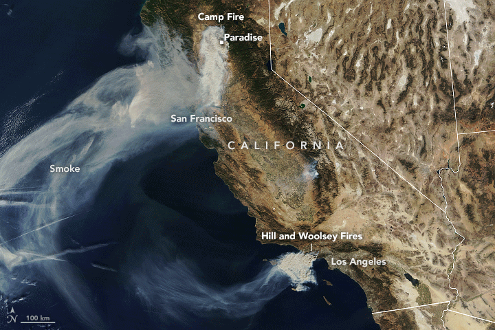 The Moderate Resolution Imaging Spectrometer (MODIS) on NASA's Terra satellite captured this natural-color image above on November 9, showing the path of smoke moving south and southwest.