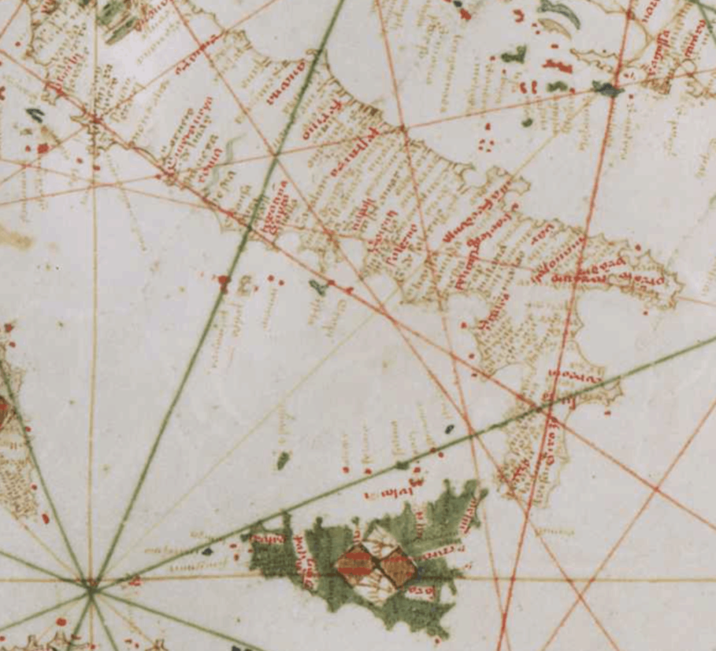 This close up of a portolan chart shows the outline of the coast of Italy. Overlayed are the grids of latitude and longitude (squares) and the diagonal lines are rhumb lines. The dark green lines represent the 8 primary winds, the red are the 8 half-winds, and the tan are the 16 quarter-winds.
