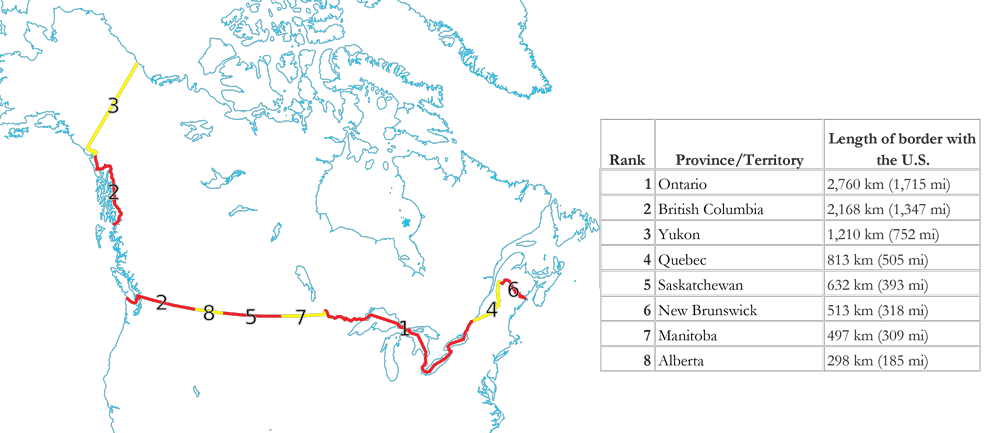 Interesting Geography Facts About The Us Canada Border Geolounge - Map-of-canada-and-us-border-states