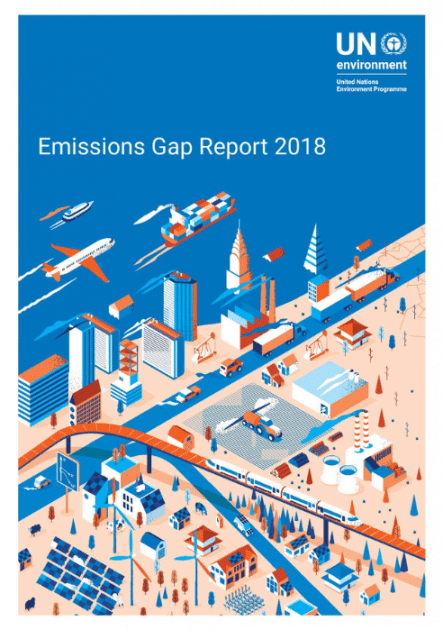 Cover page for the U.N. Emissions Gap Report 2018.