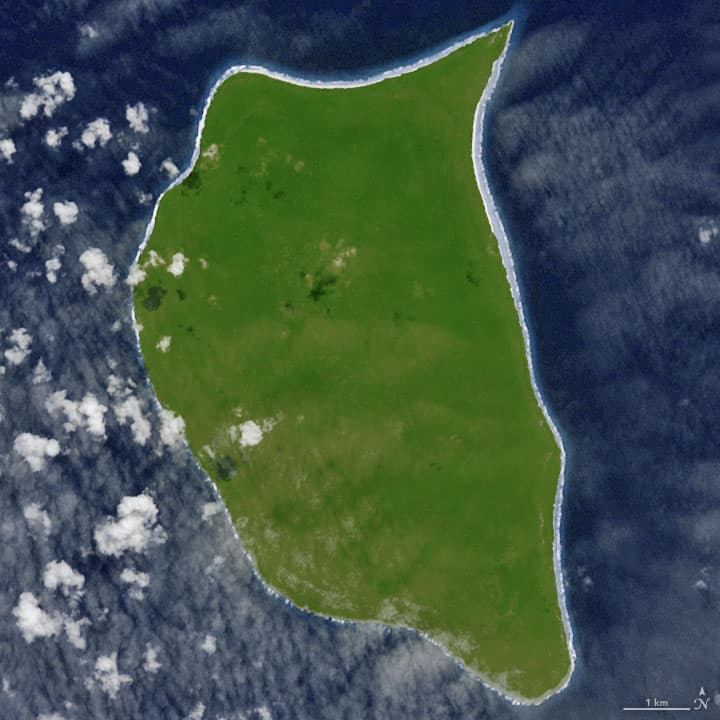 Henderson Island. Source: NASA image acquired on April 3, 2009, by Advanced Spaceborne Emission and Reflection Radiometer (ASTER) aboard the Terra satellite.