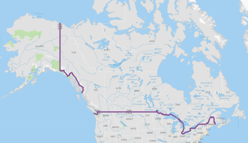 Map showing legal land border (black dots) crossings between the United States and Canada. GIS data from: United States. Bureau of Transportation Statistics