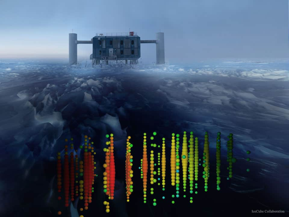 IceCube's Antarctic lab accompanied by a cartoon depicting long strands of detectors frozen into the crystal clear ice below