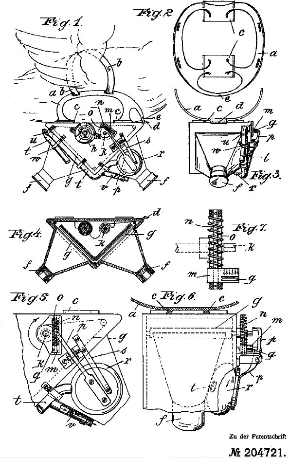 Neubronner's 1907 patent diagrams for his pigeon camera harness.