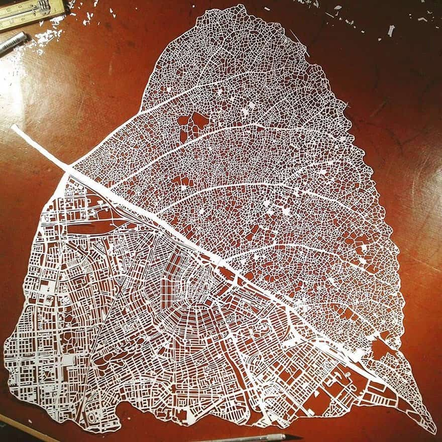 Leaf map of Amsterdam, Nils Westergard