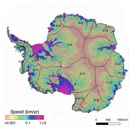 Ice speed of the Antarctic Ice Sheet derived from multisensor data for the time period 2014–2016 Figure: Rignot et al., 2019
