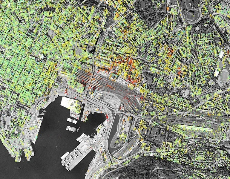 InSAR data for the Bjørvika area in Oslo. Blue are areas with no movement, yellow and red points are areas that are moving about 1 cm/year. Source: Geological Survey of Norway.