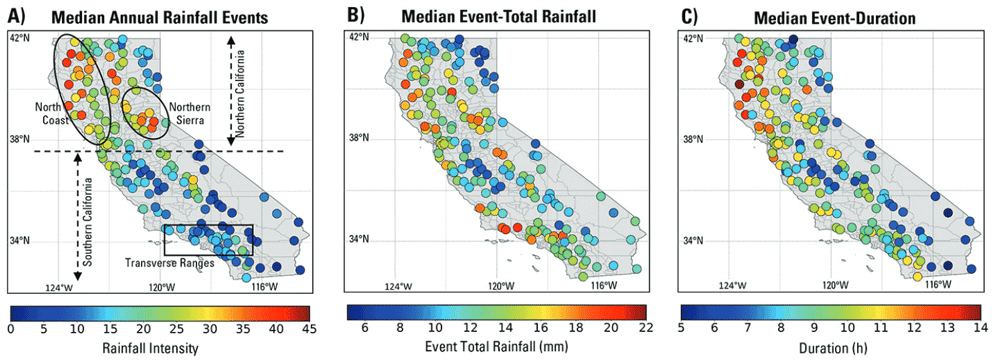 Median characteristics of rainfall events including (A) annual numbers, (B) event-total rainfall, (C) event-duration. Figure: Lamjiri et al., 2018