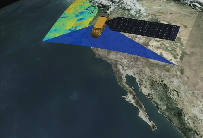 Data can be remotely sensed using satellites and airplanes.  Image: NASA, public domain