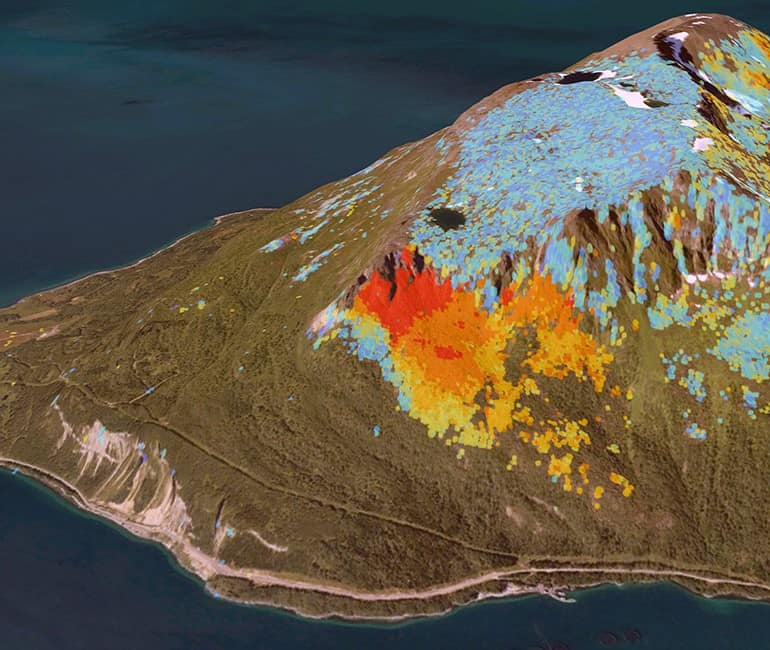 InSAR data for Rolla island. Blue are areas with no movement, yellow and red points are areas that are moving about 2 cm/year. Source: Geological Survey of Norway.
