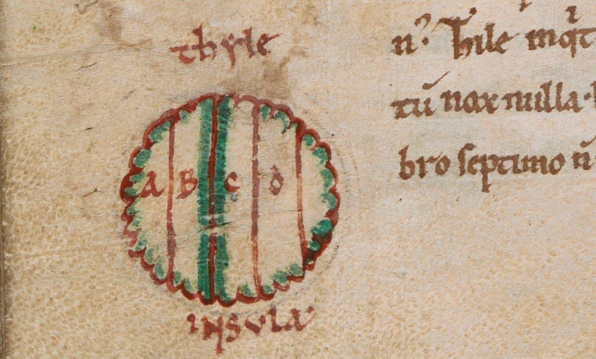 "Marginalia inscribed ""thule ínsula"". Last quarter of the 11th century or 1st quarter of the 12th century, British Library, Royal 13 A XI f. 61v"