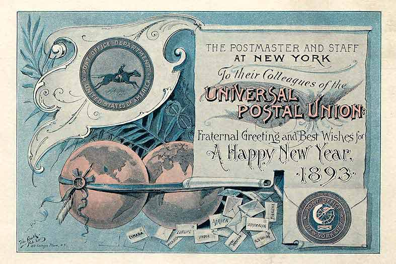 Happy New Year Postcard from the Universal Postal Union, 1893.