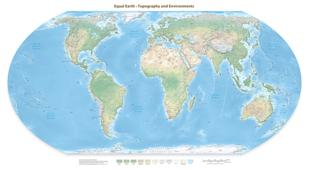 Download the Equal Earth Physical Map for Free – Geography Realm
