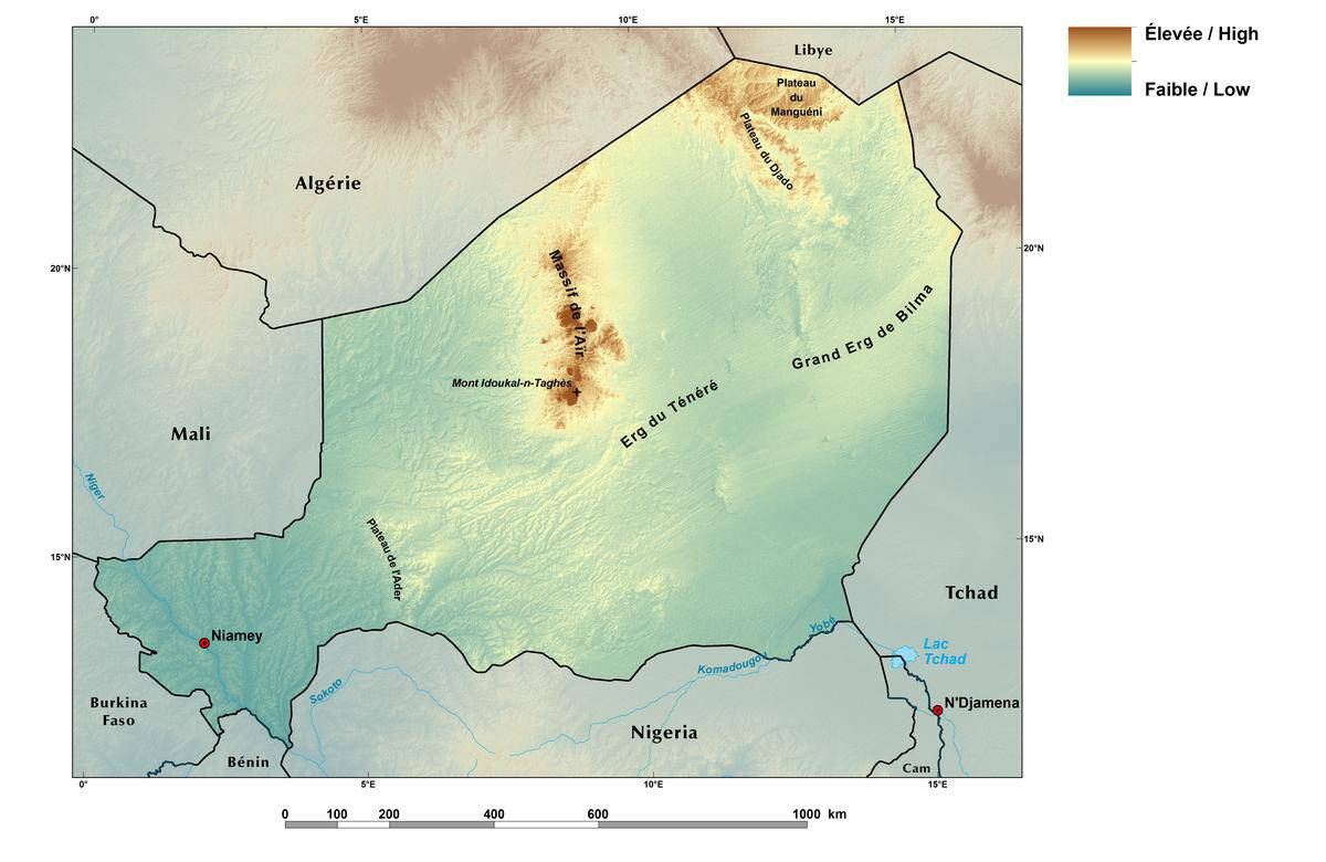 Map showing the topography of Niger. Source: USAID/USGS