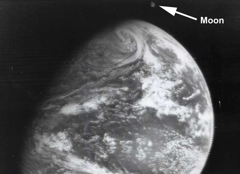 The ATS-1 satellite captured the first image of the Earth and the Moon together on December 22, 1966. Image: NASA