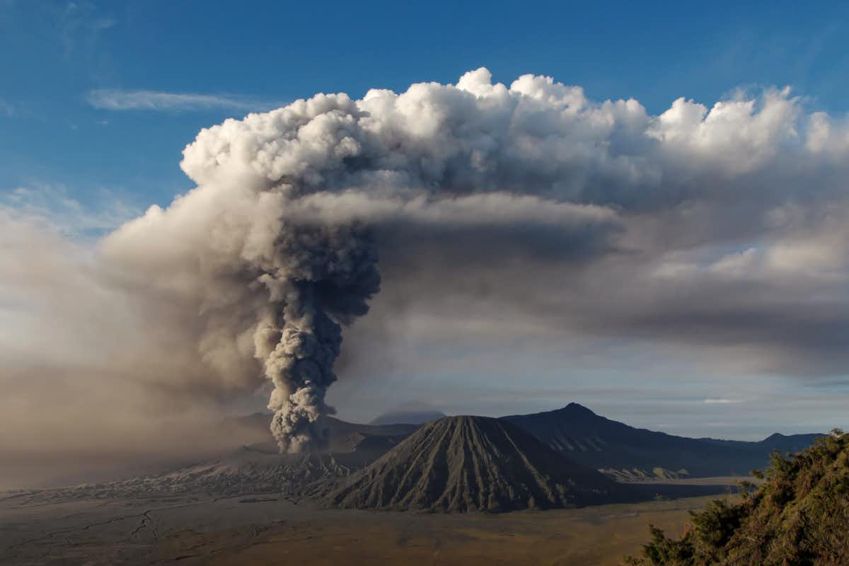 Eruption of Bromo volcano on the island of Java (2011). On a geological time scale, volcanoes play a role in the CO₂ cycle.