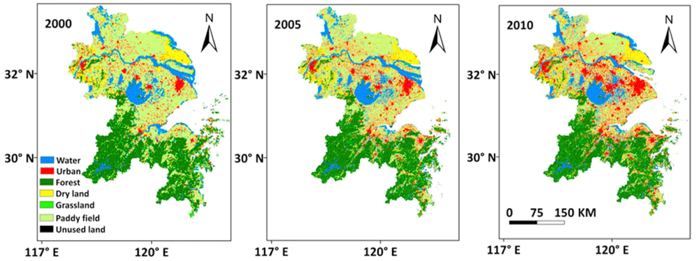 Land use and land cover (LULC) change patterns in 2000, 2005 and 2010 in the Yangtze River Delta. Figure: Hao et al., 2018.