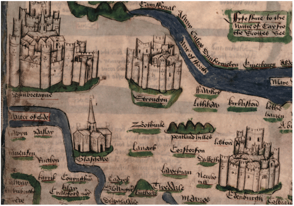 Detail from Hardyng's map of Scotland showing central Scotland between the Clyde and the Forth, picking out the Pentland Hills and Tinto, and showing elaborate and distinctive architectural sketches of the castles and walled towns of Dumbarton, Glasgow, Stirling and Edinburgh, c. 1470s, the Chronicle of John Hardyng, Bodleian Library, University of Oxford.