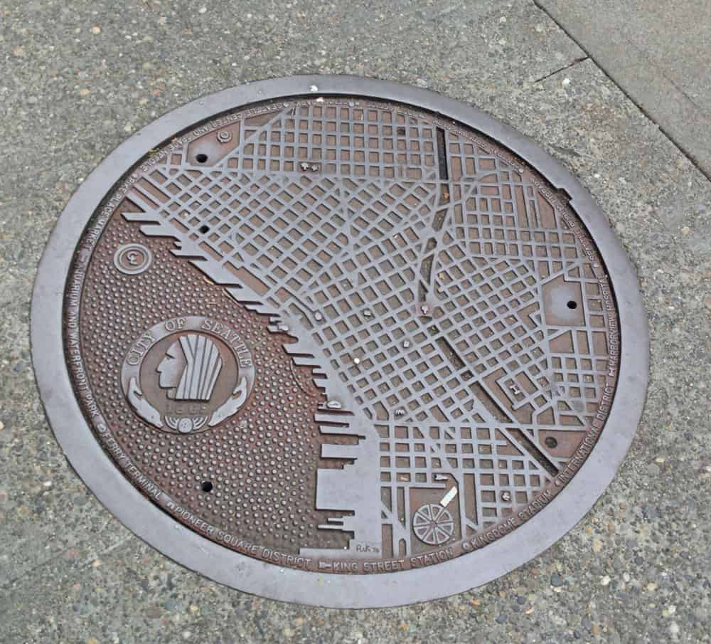 Seattle Map Manhole Cover by 1st Ave & Spring Street Photo: Gordon Werner, CC BY 2.0