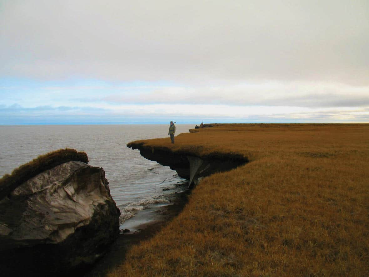 A collapsed block of ice-rich permafrost along Alaska's Arctic coast. Photo: Christopher Arp, U.S. Geological Survey. Public domain.