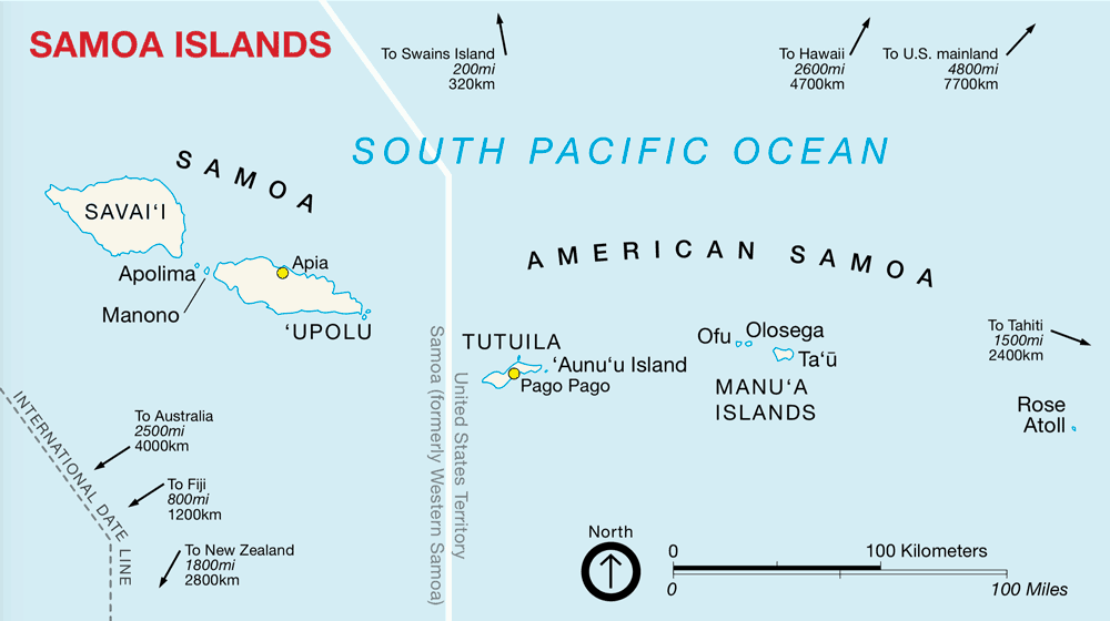 Map of the American Samoa islands. Source: NPS