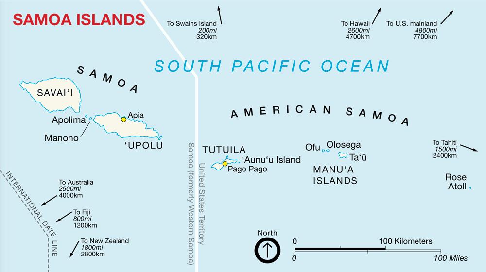 Map of the American Samoa islands. Source: NPS