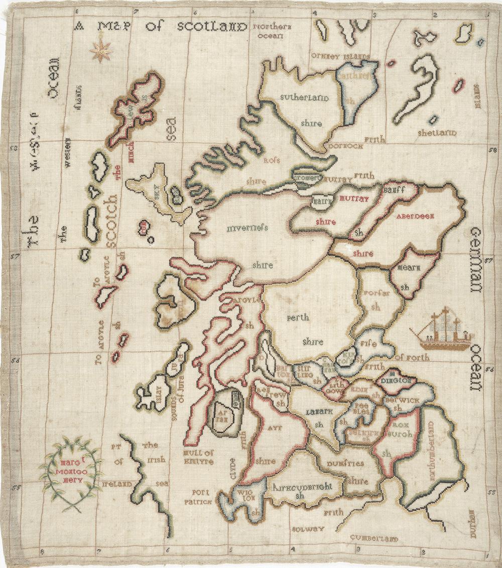 Margaret Montgomery's Map of Scotland. NLS shelfmark: EMS.s.701