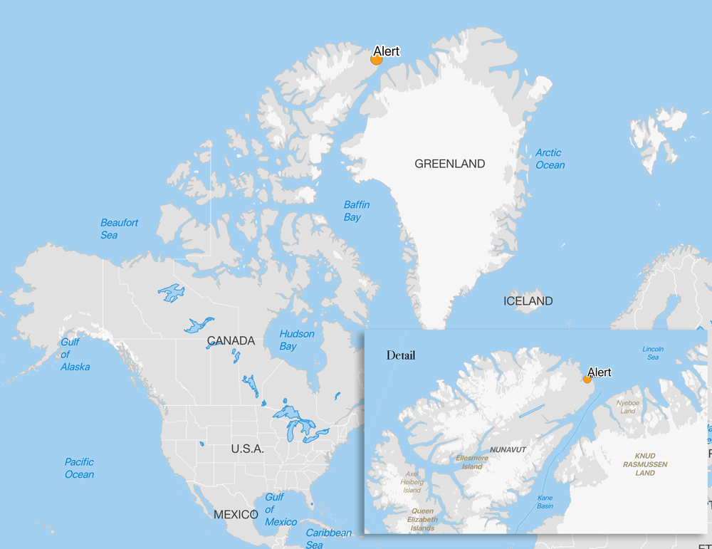 Map showing the location of Alert, Canada. Data from Naturalearth.com, map by Caitlin Dempsey.