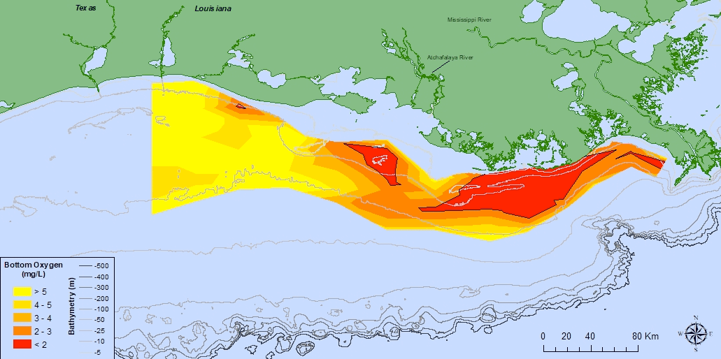 Oxygen concentrations in bottom water across the Louisiana shelf from July 23 – July 30, 2018. Data source: N.N. Rabalais, Louisiana State University, Universities Marine Consortium, and R.E. Turner, LSU