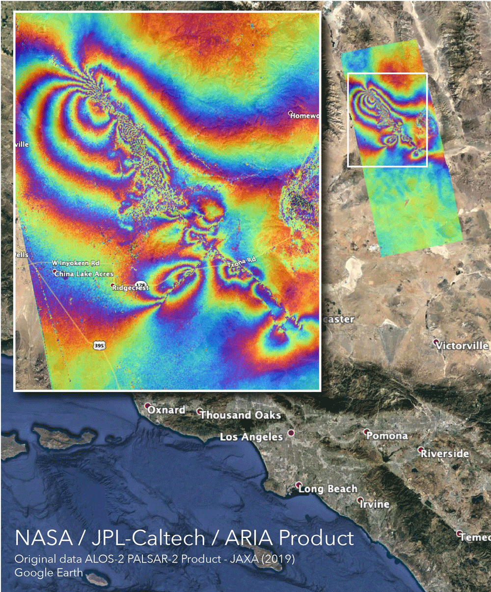 NASA's Advanced Rapid Imaging and Analysis (ARIA) team created this co-seismic Interferometric Synthetic Aperture Radar (InSAR) map, which shows surface displacement caused by the recent major earthquakes in Southern California, including the magnitude 6.4 and the magnitude 7.1 events on July 4 and July 5, 2019, respectively. Credits: NASA/JPL-Caltech
