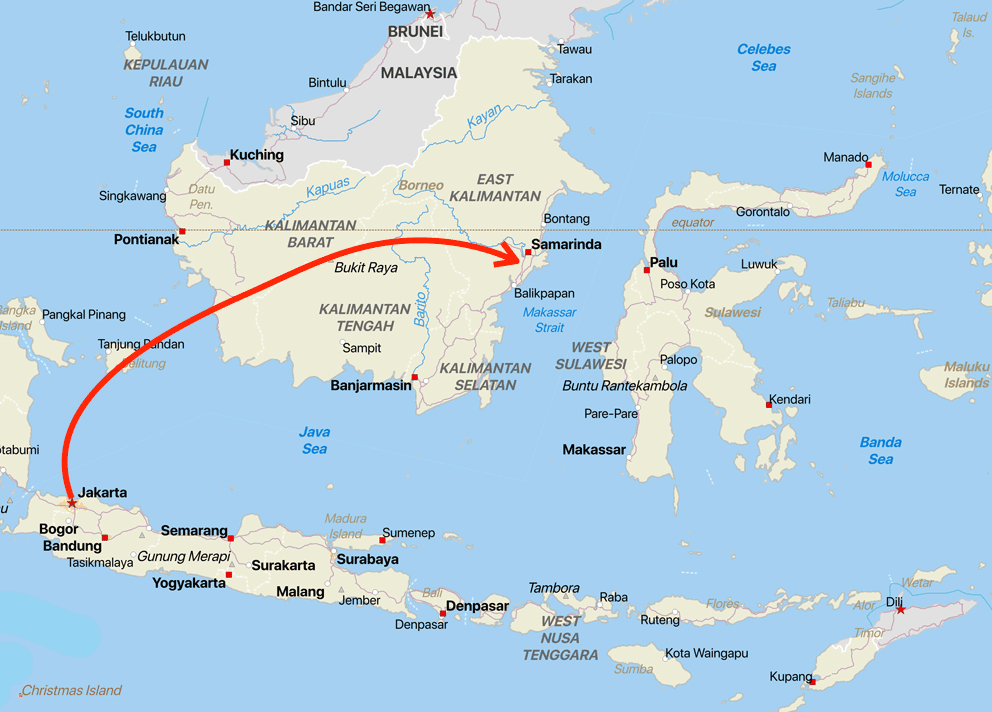 Map show the approximate location of the new capital of Indonesia on the island of Borneo. Map: Caitlin Dempsey using Natural Earth Quick Start.