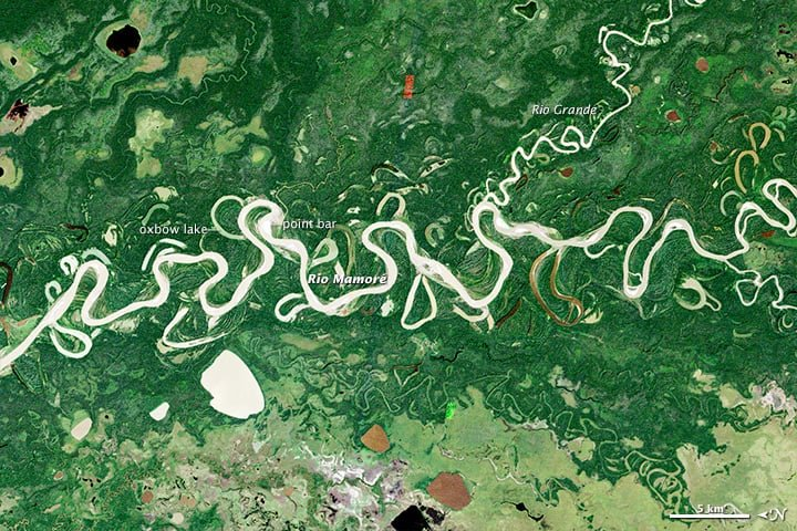 Satellite image showing the changing river patterns of the Amazon River. Image: NASA, public domain.