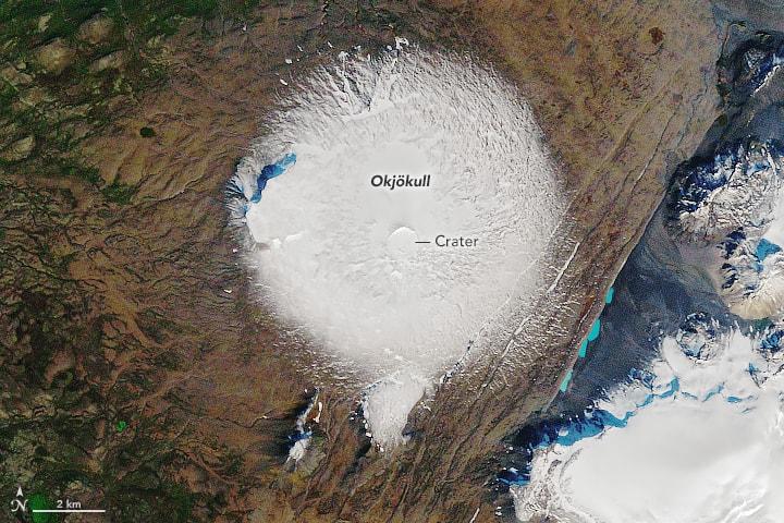 Okjökull glacier, Landsat 5 September 7, 1986.