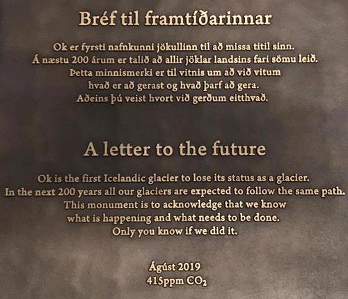 Ok glacier plaque. Words by Andri Snaer Magnason. Photo credit: Rice University.