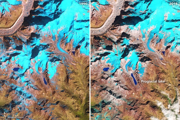 These false-color images  show a glacial lake in the Himalayas nearly doubling in length over 30 years. The images were acquired in November 1990 by Landsat 5 and November 2018 by Landsat 8. Images: NASA, public domain