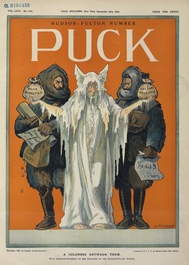 "Magazine cover highlighting the rivalry between Arctic explorers Frederick A. Cook and Robert E. Peary. Illustration: ""A coldness between them"" by L.M. Glackens featured on Puck, v. 66, no. 1700 (1909 September 29). Image: Library of Congress"