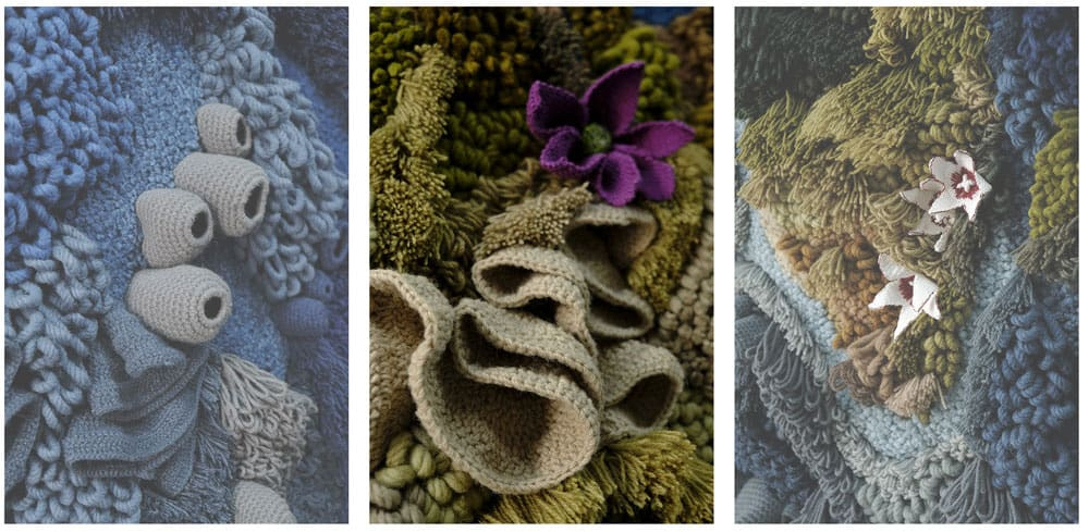 Over 18 lbs. of jute and cotton fabric and 93 lbs. of recycled wool were used in the tapestry. Images: Barragão, 2019