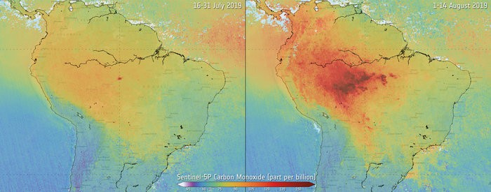 Map showing carbon monoxide from Amazon fires.  Source: contains modified Copernicus data (2019), processed by SRON