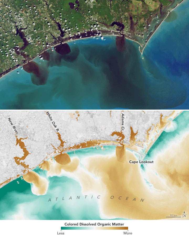 Storm runoff loaded with soils, sediments, decaying leaves, pollutants and other debris from the  New and White Oak rivers and Adams Creek in North Carolina spills out into the Atlantic Ocean as revealed by visible and infrared data from Landsat.  Source: NASA
