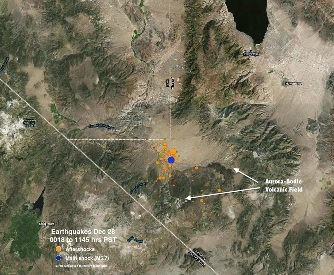 Map showing a satellite image of the Aurora-Bodie Volcanic Field with December 28, 2016 Nevada earthquake swarm locations. Map: USGS, public domain