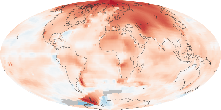 Map of global temperature anomalies, January 1, 2000 - December 31, 2009. Map: Robert Simmon, based on GISS surface temperature analysis data.