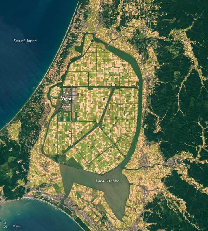 September 27, 2014 satellite image showing Lake Hachirō. Source: Landsat 8.